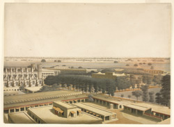 View of the interior of Fort William Calcutta looking east across the courtyard towards Chowringhee Gate and Chowringhee Road...